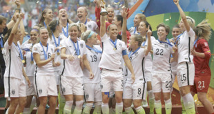 Vancouver: The United States Women's National Team celebrates with the trophy after they beat Japan 5-2 in the FIFA Women's World Cup soccer championship in Vancouver, British Columbia, Canada, Sunday, July 5, 2015. AP/PTI(AP7_6_2015_000010B)
