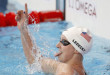 Kazan: United States' Katie Ledecky celebrates setting a new World Record in a women's 1500m freestyle heat at the Swimming World Championships in Kazan, Russia, Monday, Aug. 3, 2015. AP/PTI(AP8_3_2015_000136B)
