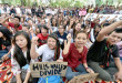 New Delhi: Students from Manipur shout slogans during protest against recent violence in Manipur, at Jantar Mantar in New Delhi on Wednesday. PTI Photo by Vijay Verma  (PTI9_2_2015_000156B)