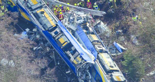 Aerial view of rescue forces working at the site of a train accident near Bad Aibling, Germany, Tuesday, Feb. 9, 2016.