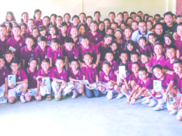 Officials of Fingerprint along with students of Hope Academy pose for group photo after the awareness programme on conservation of wildlife, environment and climate change.