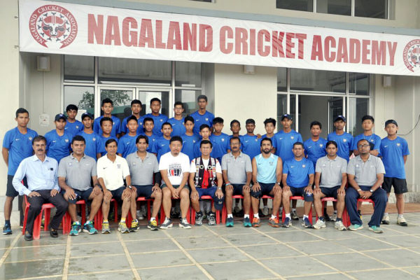 Former international cricketer Kiran More with the coaching team of the National Cricket Academy and the cricketers of the northeast region who are undergoing a camp at Nagaland Cricket Academy, Dimapur.