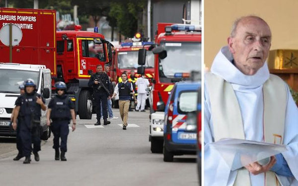Priest's throat slit in French church hostage taking