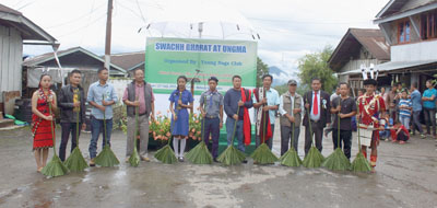 Ungma Village Council Chairman Alemtoshi , Young  Naga Club officials, president BJP YM Mkg. District Limameren Longkumer and others at the launching of the Swachh Bharat Mission at Ungma village on Saturday.