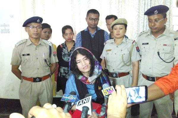 Sharmila speaking to media after appearing before the CJM court in Imphal on Tuesday. (1)
