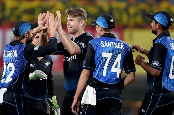 Ranchi: New Zealand bowler JDS Neesham celebrates with teammates after dismissing Indian skipper M S Dhoni(not in the picture) during 4th ODI in Ranchi on Wednesday. PTI Photo by Swapan Mahapatra(PTI10_26_2016_000298B)