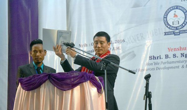 BS Nganlang releasing a souvenir during the silver jubilee celebration of PSUK in Kohima on October 22.