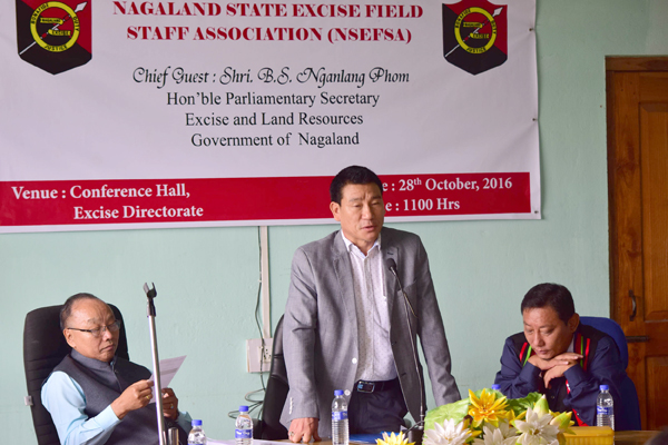 BS Nganlang Phom addressing the Excise department's personnel at the NSEFSA annual conference on Friday, October 28, at the Excise Directorate in Dimapur.