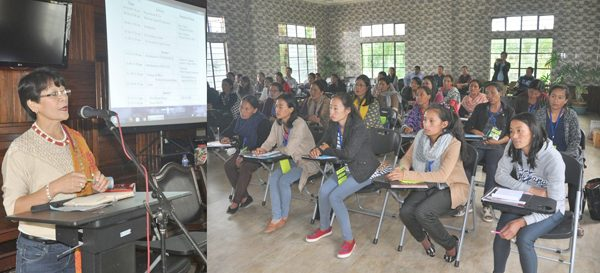 Mission Director of SRCW, Daisy Mezhur, speaking at the orientation programme for village coordinators and volunteer of PSK/VCFS at SIRD conference hall, Kohima, on October 27.