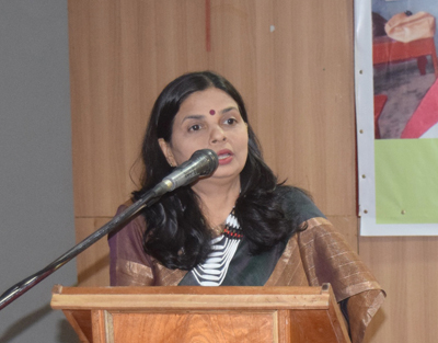Prof. Prananti Panda speaking at the inaugural session of the two-day orientation and workshop on 'Shaala Siddhi' in Kohima on October 20.