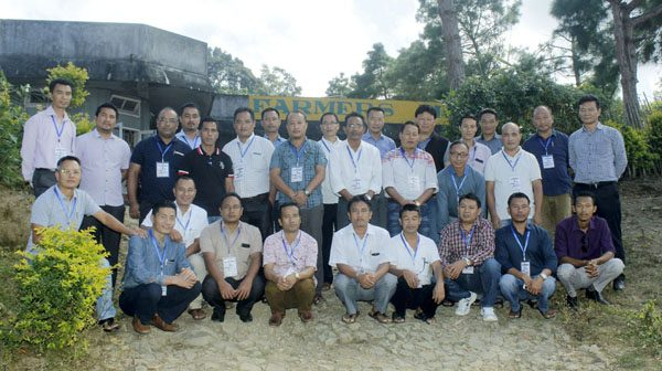 K Temjen Jamir (standing extreme right) along with pastors at the 28th Longpangkong Range Pastors' Meet in Yisemyong village on October 22.
