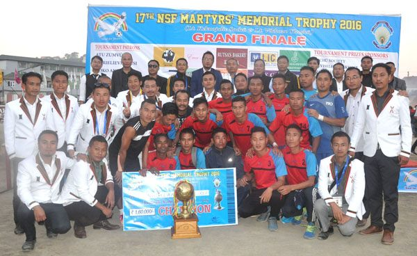 The champions Nagaland Police (Red) with members of NSF, ASU and tournament officials during the prize distribution ceremony at Kohima local ground on Saturday.