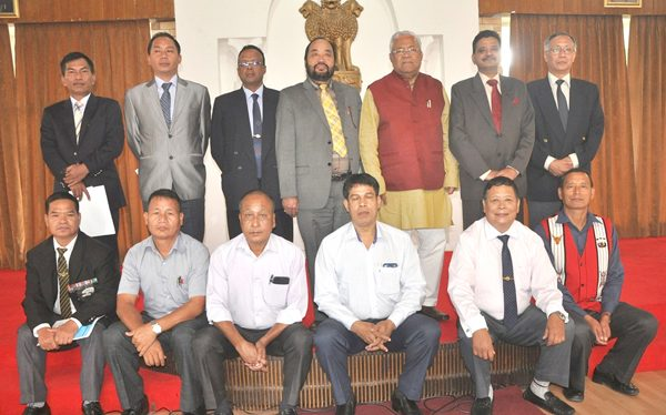 State Governor, PB Acharya, along with the State Home Minister Y Patton, and other officials pose for a photo at the end of the meeting at Raj Bhavan, Kohima, on October 21.