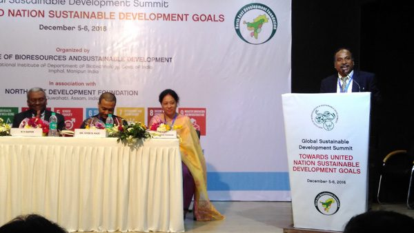Prof. Dinabandhu Sahoo, Director of IBSD, speaking at the two-day Global Sustainable Development Summit 2016 in Guwahati on December 5.