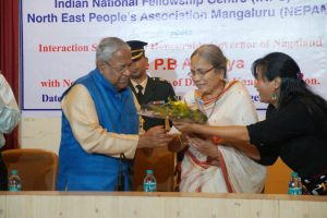 Governor PB Acharya being felicitated during the interaction session on December 26 at SDM  College seminar hall, Mangaluru.