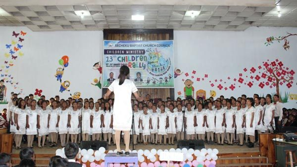 Sunday School children participating at the choir competition during the CBCC children rally in Chizami village.