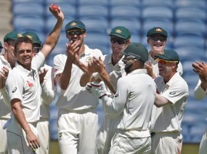 Pune: Australian bowler Steve O'Keefe celebrates his six wickets during the first test match played against India in Pune on Friday. PTI Photo by Shashank Parade(PTI2_24_2017_000053B)