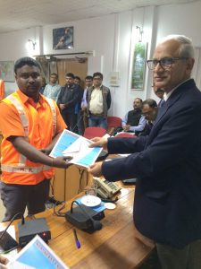 Railway trackmen Sibnath Yadav receiving awards from NRF General Manager Chahatey Ram on February 12.