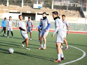 Lajong players seen here during the training session in Shillong.