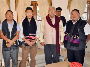 Nagaland Governor PB Acharya with members of the REM group on February 23 at the Raj Bhavan in Kohima.