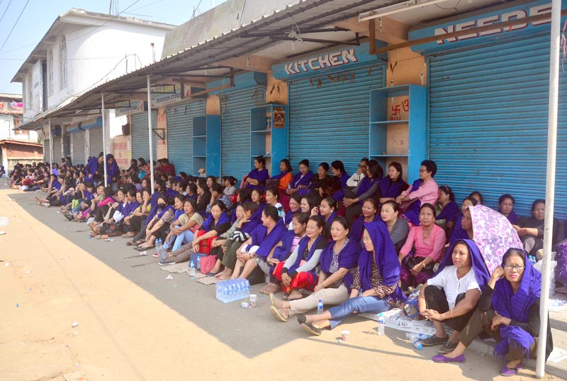 Women volunteers block the entrance to the Dimapur deputy commissioner's office, and along the route to the deputy commissioner's complex, on Wednesday, February 15, in Dimapur.