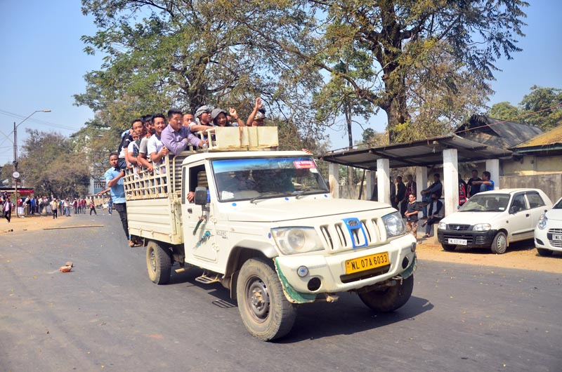 Volunteers pack a ride to a location in Dimapur on Friday, February 15.