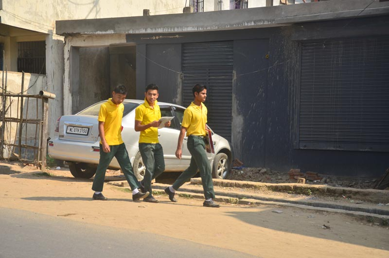 Students on way to their examination centre in Dimapur on Wednesday. February 15.