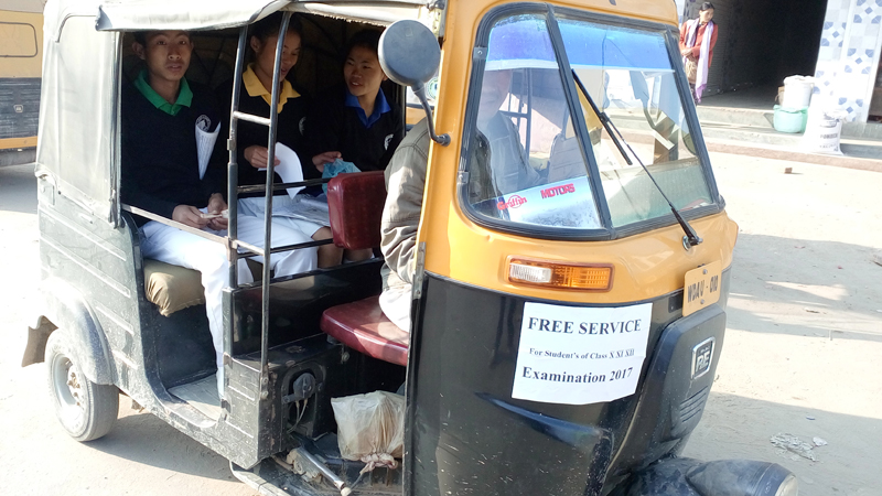 Students in Wokha town seen here in an auto rickshaw, understood to be on their way to write for the ongoing NBSE examination on Wednesday, February 15. Sources from the town said on Wednesday that the Wokha Auto rickshaw Union was offering free transport to the students 'in view of the NBSE exams.'