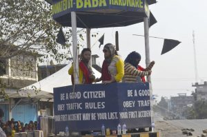 A traffic island plays host to volunteers during the Thursday bandh in Dimapur.