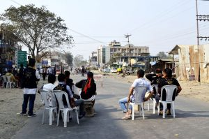 Volunteers monitor events during the fourth day of the ongoing bandh along National Highway 29 in the 4th mile areas in Dimapur.