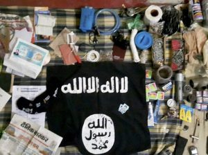 Lucknow: Arms, ammunition and other items recovered after suspected terrorist Saifullah was killed in a 12-hour long operation by an ATS team on the outskirts of Lucknow on Wednesday. PTI Photo(PTI3_8_2017_000058B)