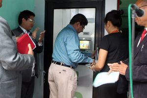The general manager of the NABARD, Asoke Chakraborty, inaugurating an ATM booth of the NStCB on Monday in Dimapur.